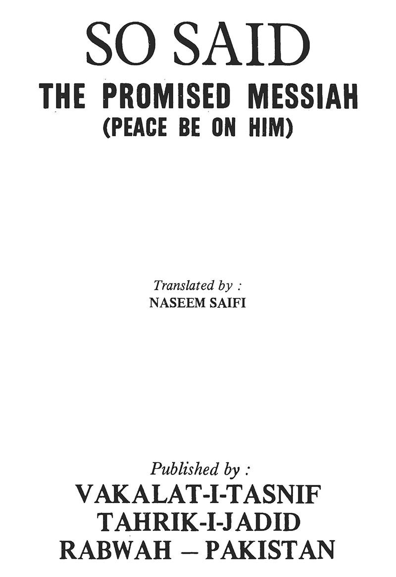 So Said The Promised Messiah (as) | Islam Ahmadiyya